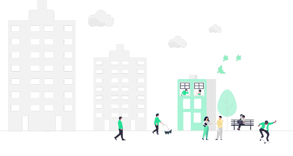 graphic of a city center